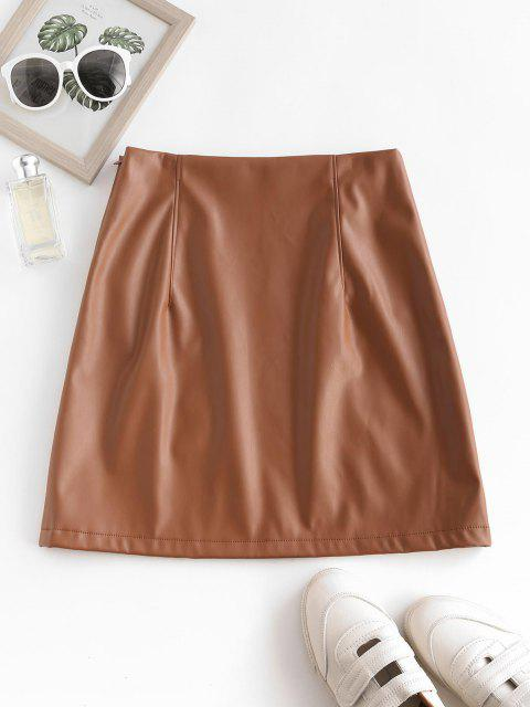 ZAFUL Front Slit Faux Leather Mini Skirt - القهوة الخفيفة L Mobile