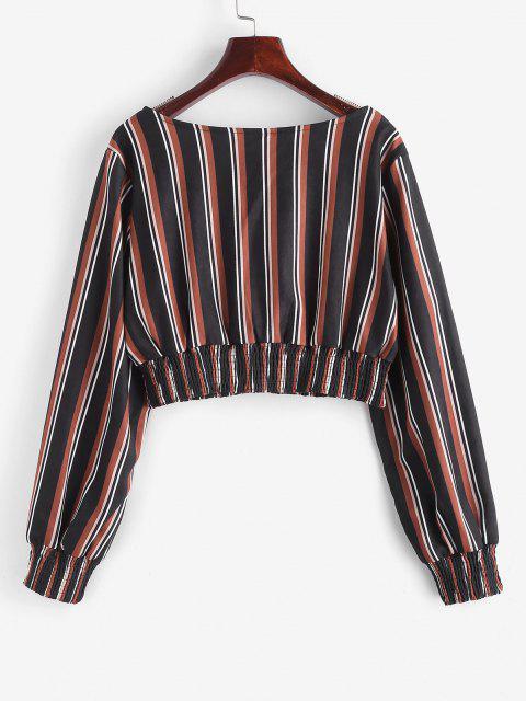 women ZAFUL Mixed Stripes Smocked Panel Cropped Blouse - BLACK L Mobile