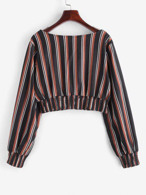outfits ZAFUL Mixed Stripes Smocked Panel Cropped Blouse - BLACK S Mobile
