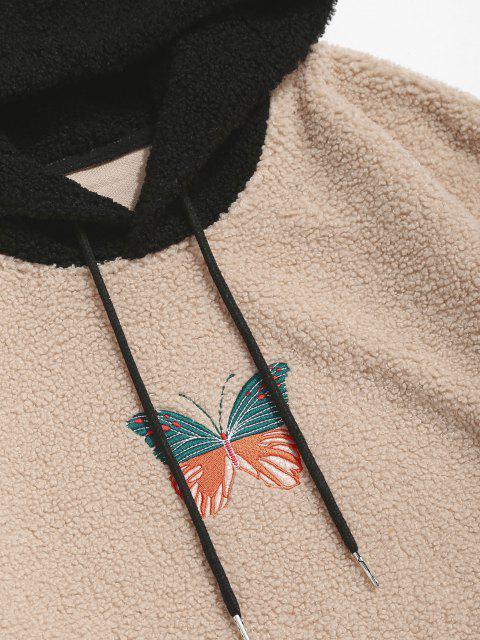 Farbblock Schmetterling Stickerei Teddy Hoodie - Licht Kaffee 2XL Mobile