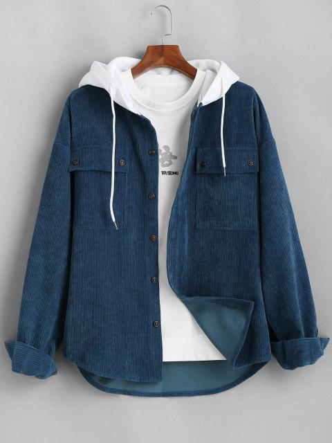 best Colorblock Hooded Corduroy Shirt Jacket - DEEP BLUE M Mobile