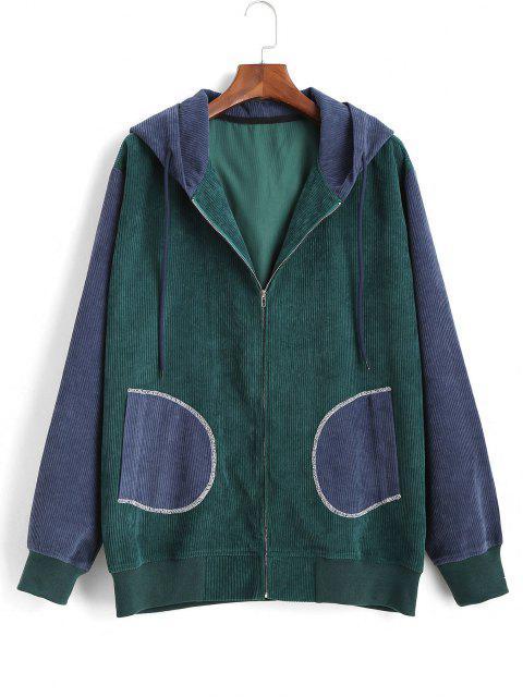 fashion Colorblock Patchwork Corduroy Hooded Jacket - BLUE L Mobile