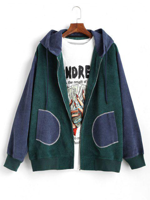 Colorblock Patchwork Corduroy Hooded Jacket - أزرق M Mobile