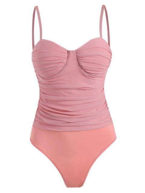womens Mesh Ruched Padded Cami Bodysuit - LIGHT PINK S Mobile