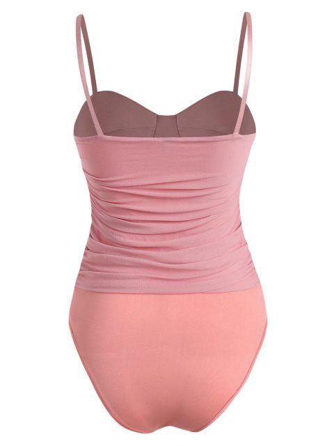 outfits Mesh Ruched Padded Cami Bodysuit - LIGHT PINK M Mobile