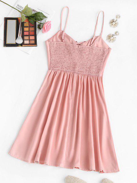 unique Bowknot Smocked Back Mini Dress - LIGHT PINK M Mobile