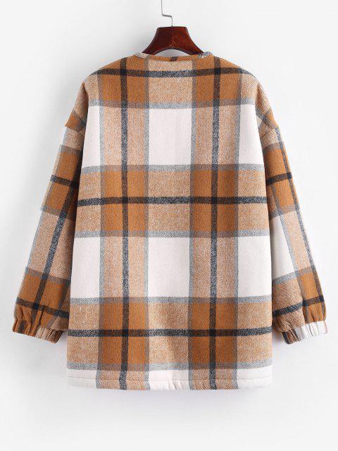 ZAFUL Plaid Faux Shearling Teddy Lined Tunic Coat - اصفر غامق XL Mobile