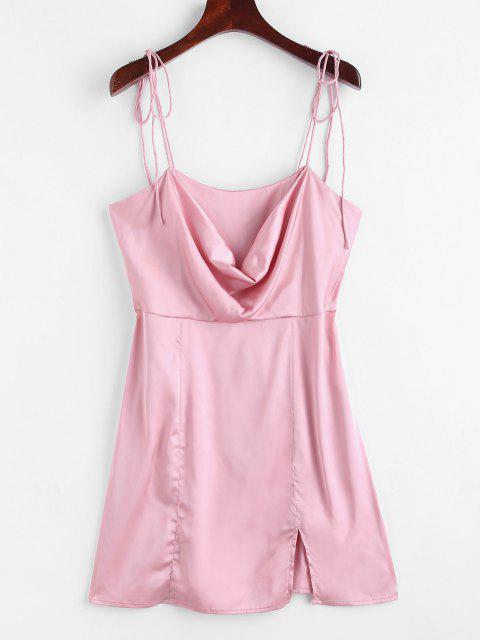 trendy Satin Tie Shoulder Cowl Front Slit Dress - LIGHT PINK L Mobile