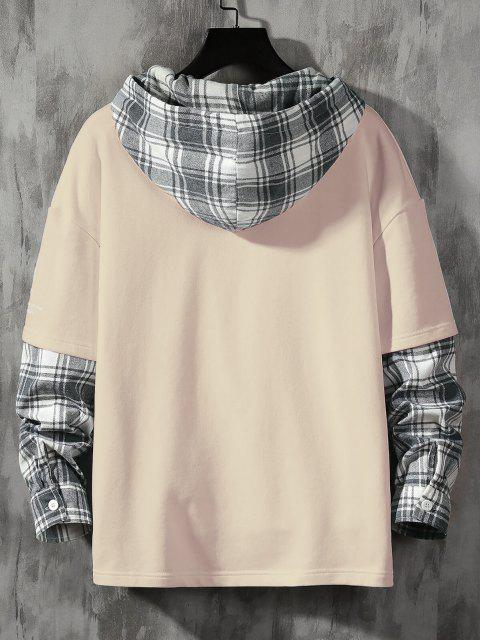 online Letter Print Plaid Faux Twinset Hoodie - CHAMPAGNE XS Mobile