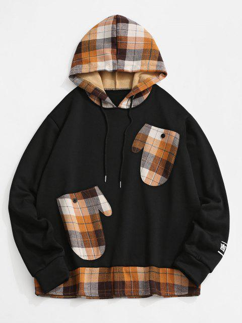 buy Plaid Print Glove Pockets Faux Twinset Fleece Hoodie - BLACK 2XL Mobile