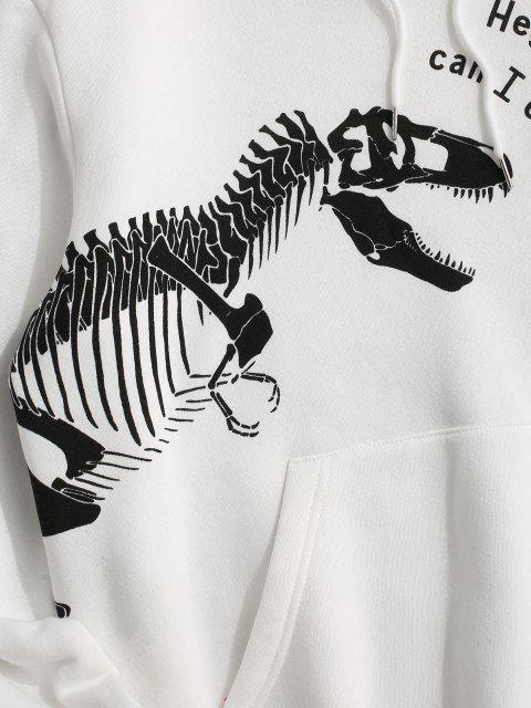 online Fleece Lined Dinosaur Skeleton Hoodie - WHITE M Mobile