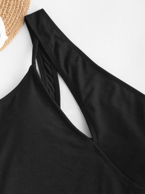 ZAFUL Einziger Schulter Ausschnitt Gerippter Einteiliger Badebekleidung - Schwarz S Mobile