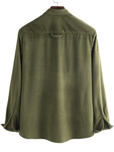 ボタン付きコーデュロイポケットシャツ - 深緑 2XL Mobile