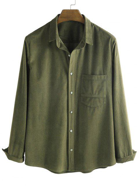 affordable Button Up Corduroy Pocket Shirt - DEEP GREEN L Mobile