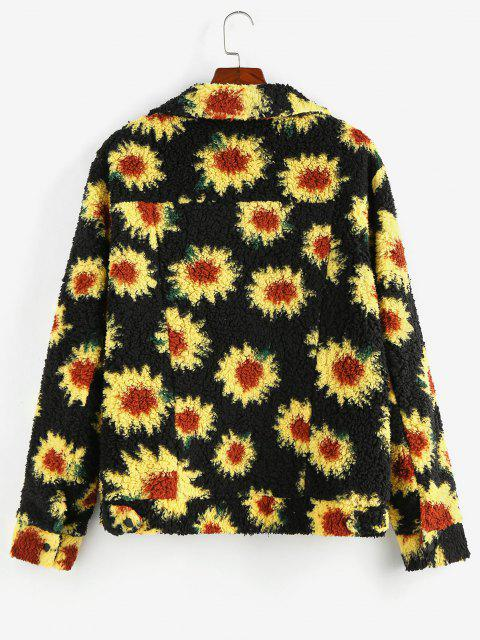 chic ZAFUL Flower Pattern Button Up Teddy Jacket - BLACK 2XL Mobile