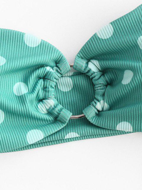 fancy ZAFUL Ribbed Polka Dot O Ring Bandeau Bikini Swimwear - LIGHT GREEN S Mobile
