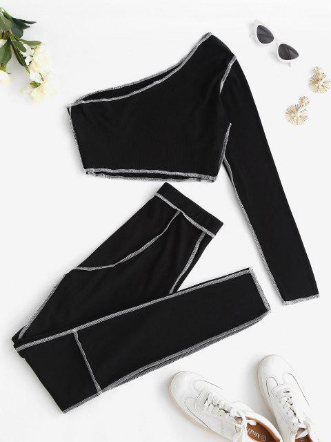 hot ZAFUL Ribbed Exposed Seams One Shoulder Pants Set - BLACK S Mobile