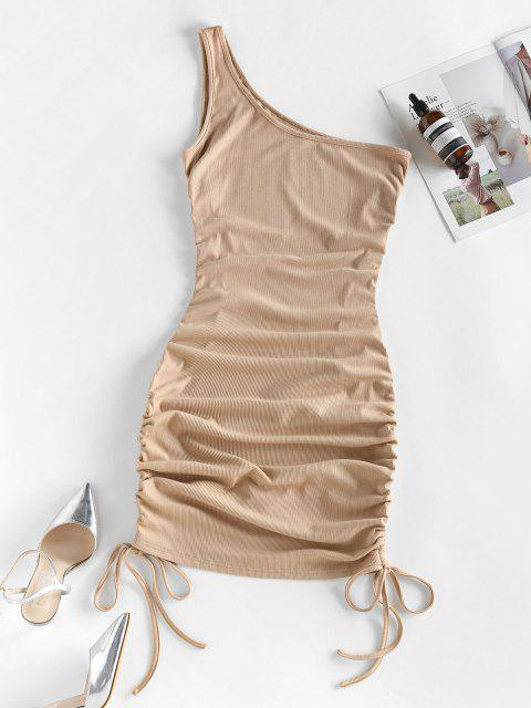 outfits ZAFUL Ribbed Cinched One Shoulder Bodycon Dress - KHAKI S Mobile