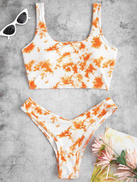 ZAFUL Krawattenfärbender Gerippte Hoch Geschnittene Crop Tankini Badebekleidung - Dunkles Orange S Mobile