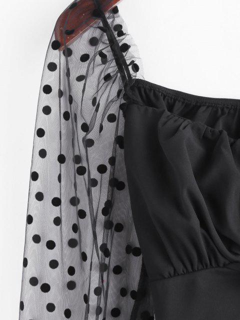 trendy Flocking Polka Dot Mesh Ruffle Tie Back Blouse - BLACK S Mobile