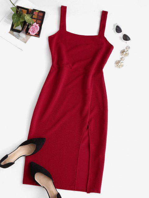Vestito Longuette a Fessura con Collo Quadrato - Rosso S Mobile