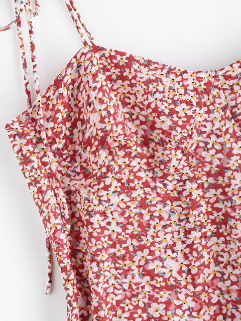new Ditsy Print Tie Shoulder Smocked Slit Midi Dress - LIGHT PINK S Mobile