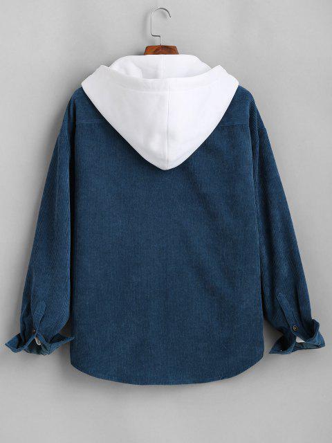 womens Colorblock Hooded Corduroy Shirt Jacket - DEEP BLUE L Mobile