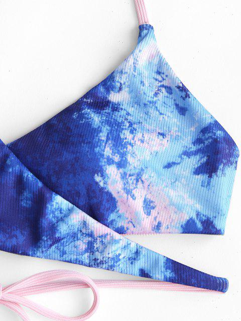 women's ZAFUL Tie Dye Ribbed Ladder Strap Wrap Bikini Swimwear - LIGHT PINK M Mobile