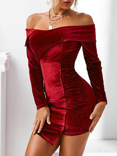Off The Shoulder Asymmetrical Velvet Bodycon Dress - Deep Red