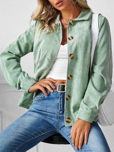 ZAFUL Ribbed Buttons Corduroy Jacket - Light Green M