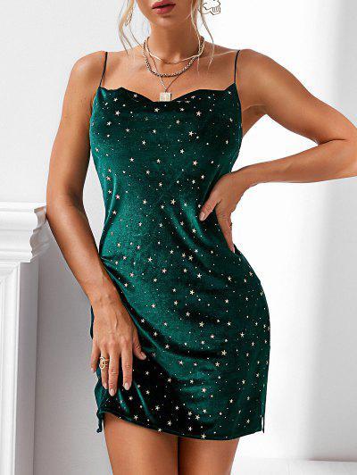 Принт звезды Боковой разрез Бархатное Платье - зеленый M