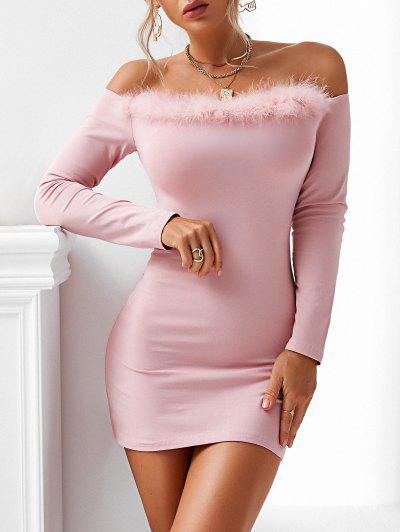 ZAFUL Faux Fur Trim Off The Shoulder Slinky Dress - Light Pink L
