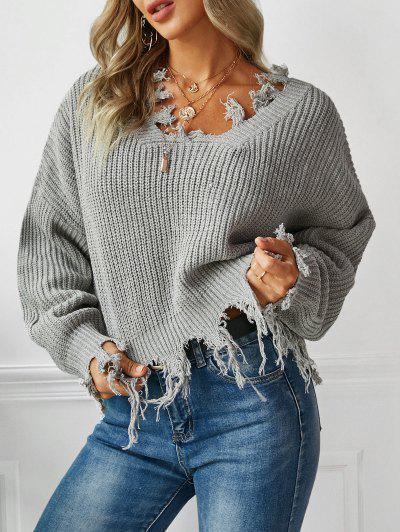 Suéter Largo Gola V Com Rasgo  - Cinza