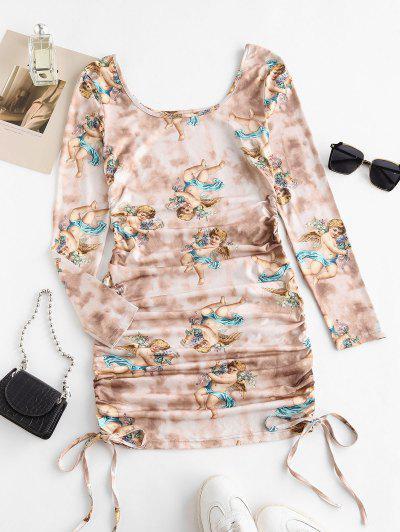 ZAFUL Tie Dye Renaissance Angel Print Ruched Bodycon Dress - Light Coffee M