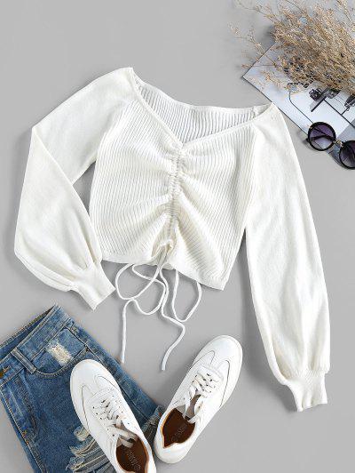 ZAFUL Ribbed Cinched Raglan Sleeve Jumper Sweater - White L