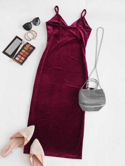 Open Back Slit Velvet Midi Dress - Deep Red