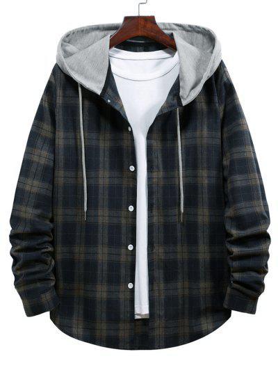 Plaid Print Hooded Drawstring Shirt - Cadetblue S