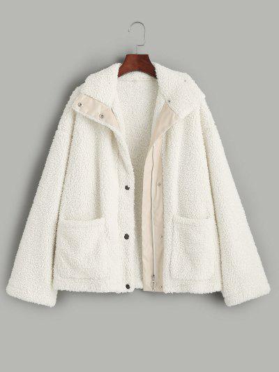 ZAFUL Faux Shearling Snap Button Zip Teddy Coat - Light Khaki L