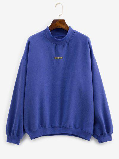 Sweat-shirt Sportif Brillant Tressé à Doublure En Molleton - Bleu