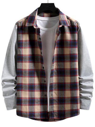 Plaid Print Button Up Casual Shirt - Light Khaki L