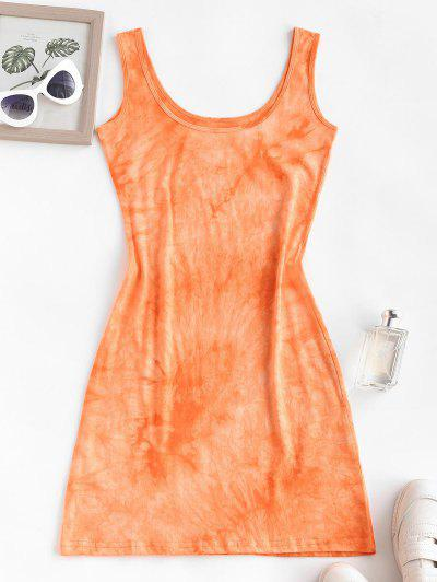 Tie Dye Slinky Tank Dress - Dark Orange S