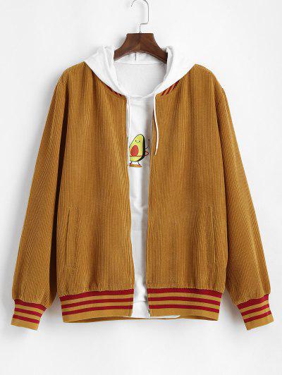 Corduroy Stripes Print Jacket - Deep Yellow L