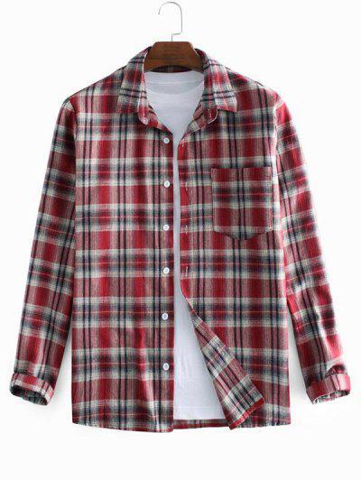 Plaid Printed Long Sleeve Pocket Shirt - Red 3xl