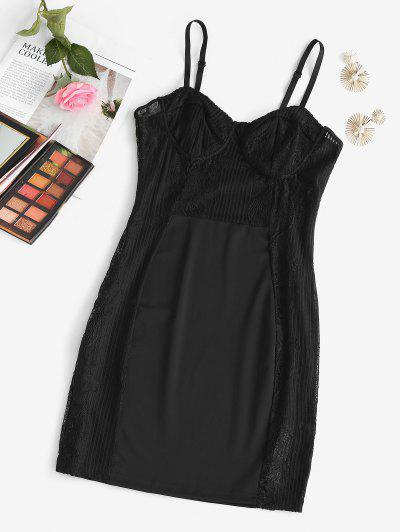 Bustier Lace Panel Sleep Chemise - Black M
