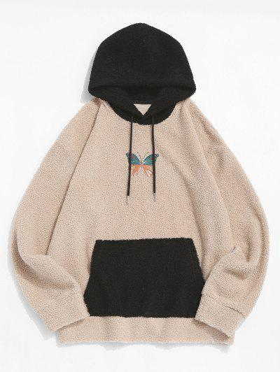 Colorblock Butterfly Embroidery Teddy Hoodie - Light Coffee M