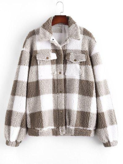 Plaid Pattern Teddy Jacket - Light Coffee Xl