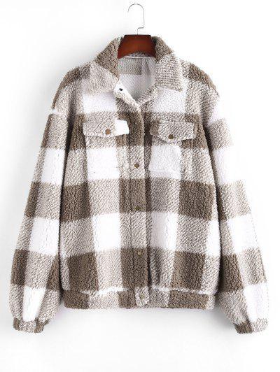 Клетчатый принт Куртка Тедди - Свет кофе L
