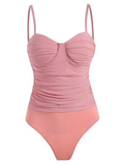 Mesh Ruched Padded Cami Bodysuit - Light Pink S