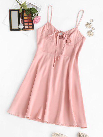 Bowknot Smocked Back Mini Dress - Light Pink S