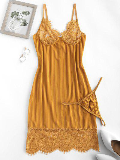 Lace Panel Shadow Striped Slinky Chemise Set - Deep Yellow L